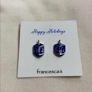 Francesca's Collections Jewelry - Blue dreidel earrings